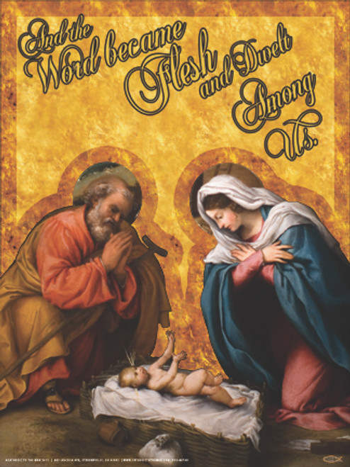 Nativity with Reaching Jesus Poster