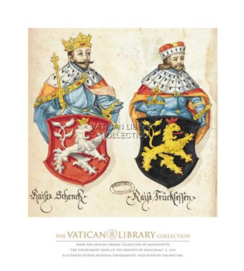 Two Kings with Lion Shields Paper Print