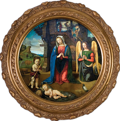 Nativity with Kneeling Angel Framed Art