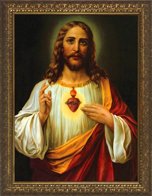 Italian Sacred Heart of Jesus Framed Art