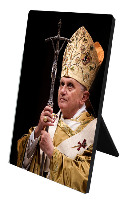 Pope Benedict with Paschal Staff Vertical Desk Plaque