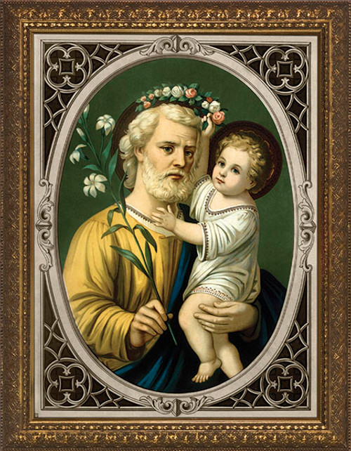 St. Joseph (Oval Border) Framed Art