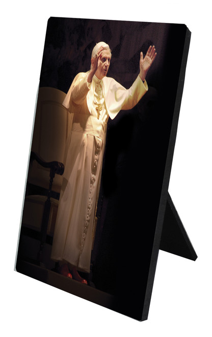 Pope Benedict Standing in Blessing Vertical Desk Plaque