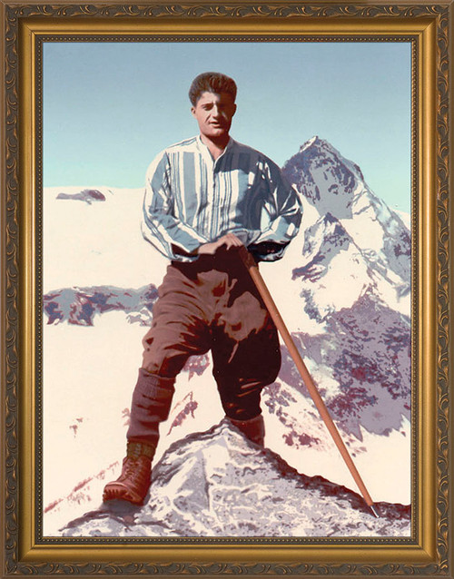 Bl. Pier Giorgio Frassati on a Mountain Framed Art
