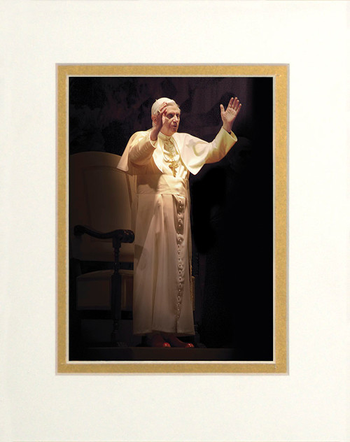 Pope Benedict Standing in Blessing Matted - No Frame Image