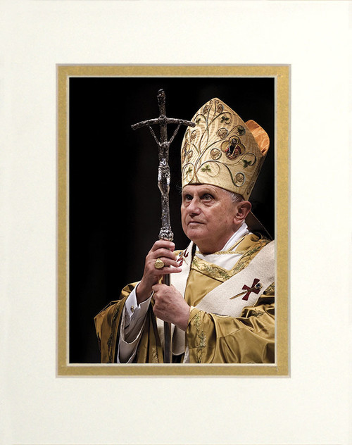 Pope Benedict with Paschal Staff Matted - No Frame Image