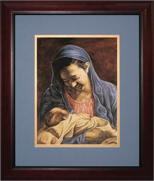 Madonna and Child by Jason Jenicke Matted - Cherry Framed Art (Limited Edition)