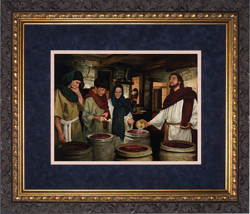 Wedding at Cana by Jason Jenicke Matted - Ornate Dark Framed Art