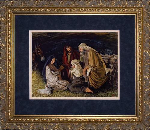 Adoration of the Shepherds by Jason Jenicke Matted - Ornate Gold Framed Art