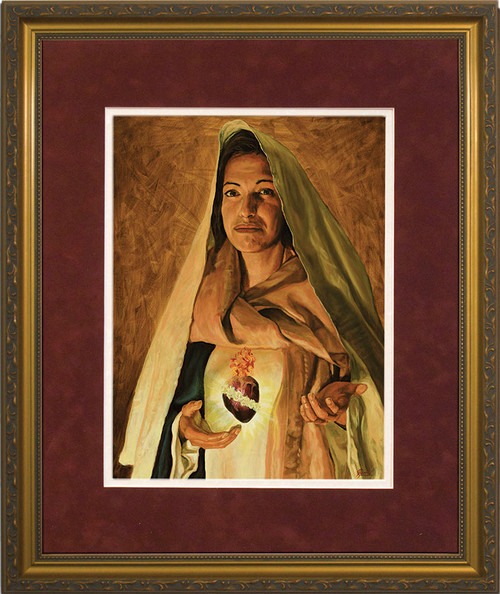 Immaculate Heart of Mary by Jason Jenicke Matted - Standard Gold Framed Art