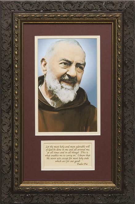St. Padre Pio Matted with Prayer - Ornate Dark Framed Art