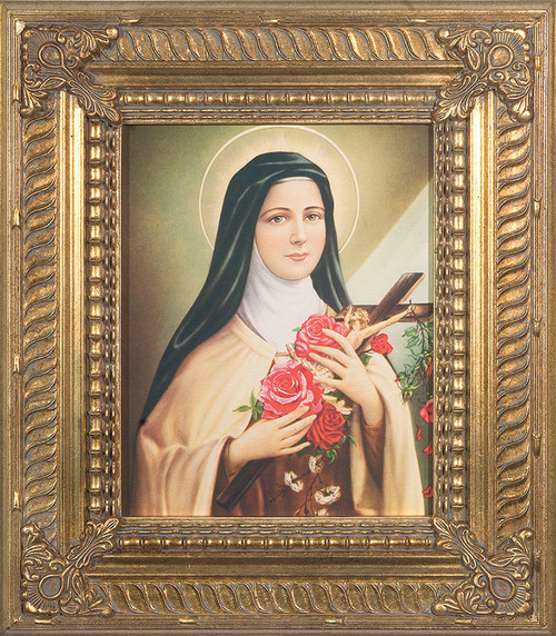 St. Therese of Lisieux - Gold Museum Framed Canvas