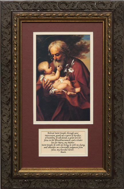 St. Joseph (Older) Matted with Prayer - Ornate Dark Framed Art