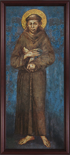 St. Francis - Cherry Framed Canvas