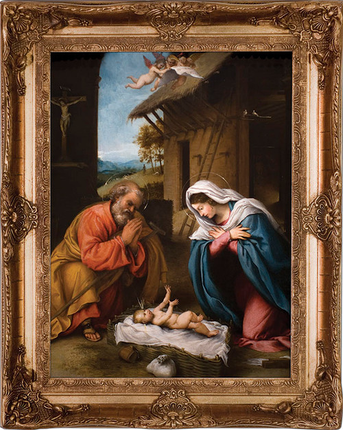 Nativity with Reaching Jesus - Gold Museum Framed Canvas