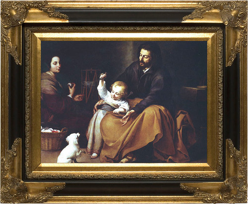 Holy Family with Small Bird by Murillo - Black and Gold Museum Framed Canvas