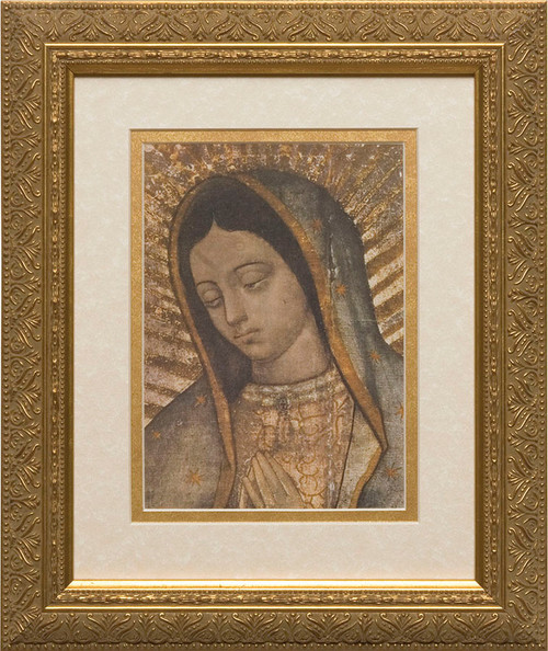 Our Lady of Guadalupe Bust Matted - Gold Framed Art