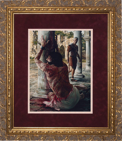 Scourging at the Pillar Matted - Gold Framed Art
