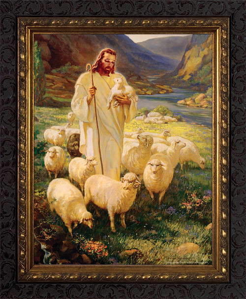 Good Shepherd - Ornate Dark Framed Art