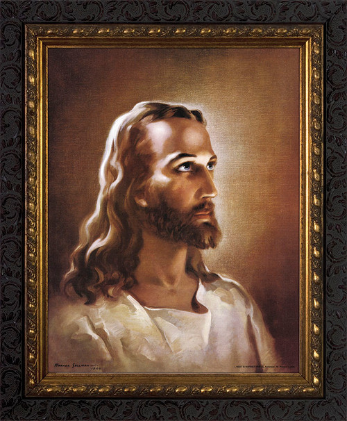 Head of Christ - Ornate Dark Framed Art
