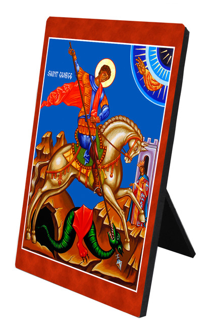 St. George and the Dragon Vertical Desk Plaque