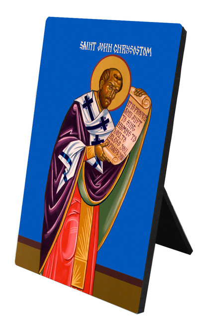 St. John Chrysostom Vertical Desk Plaque