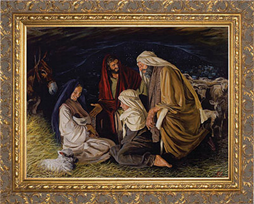 Adoration of the Shepherds by Jason Jenicke - Ornate Gold Framed Art