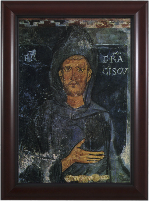 St. Francis of Assisi (Fresco) - Cherry Framed Art