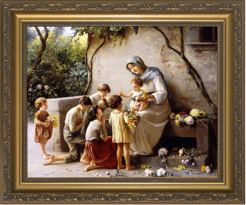 Adoration (Mary and Jesus with Children) by Giuseppe Magni Framed Art