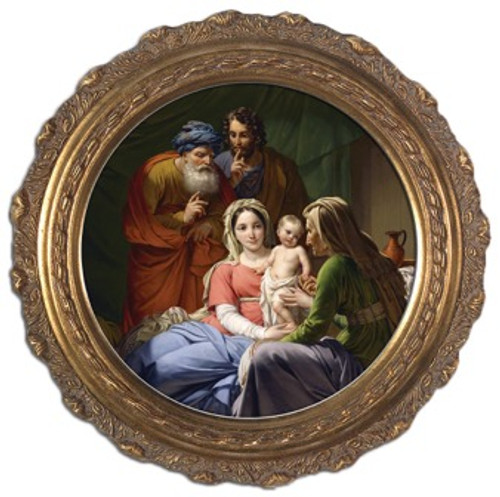 Holy Family with Grandparents Joachim and Anne Round Framed Canvas