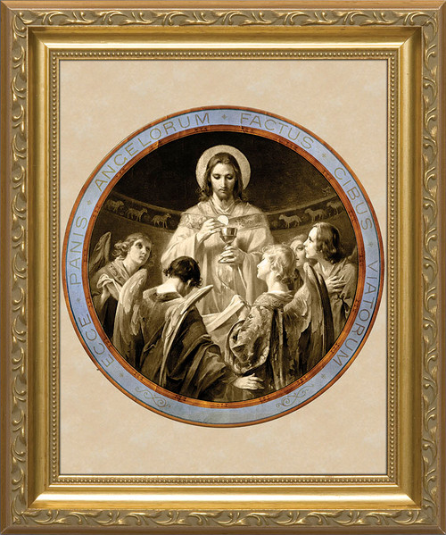 Christ, Bread of Angels Matted - Standard Gold Framed Art