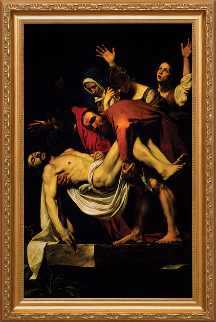 Deposition of Christ by Caravaggio - Standard Gold Framed Canvas