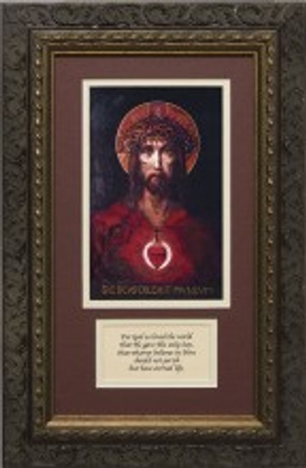 For God So Loved The World Canvas Matted with Prayer - Ornate Dark Framed Art