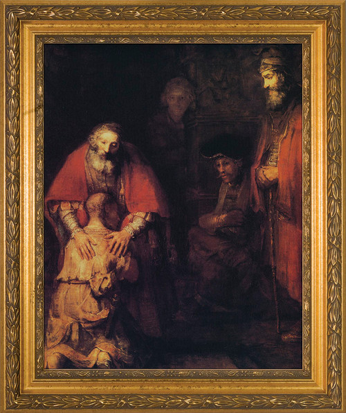 Prodigal Son by Rembrandt - Gold Framed Canvas