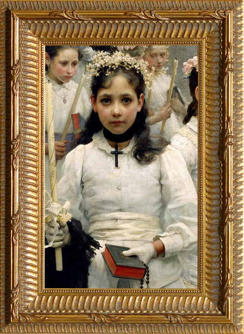 After the First Holy Communion (Detail 1 Girl) - Ornate Gold Framed Art