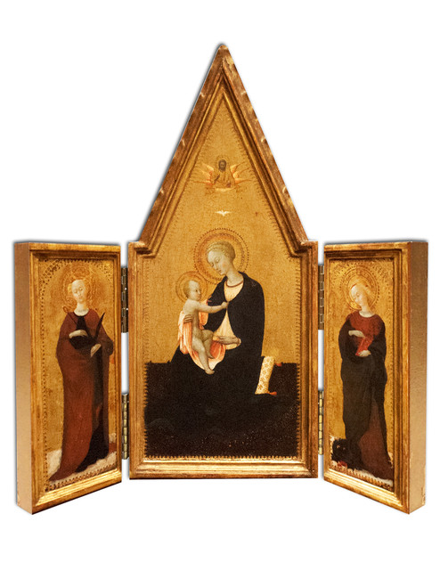 Madonna of Humility with Sts. Apollonia and Margaret Triptych Plaque