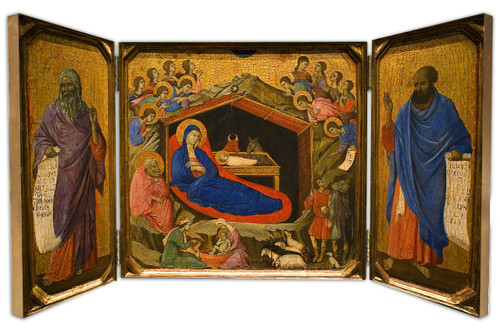 Nativity Icon with Isaiah & Ezekiel Triptych Plaque