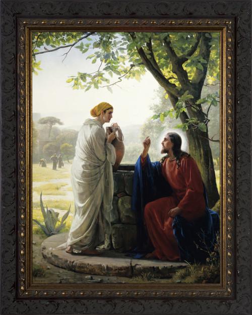 Woman at the Well - Ornate Dark Framed Art