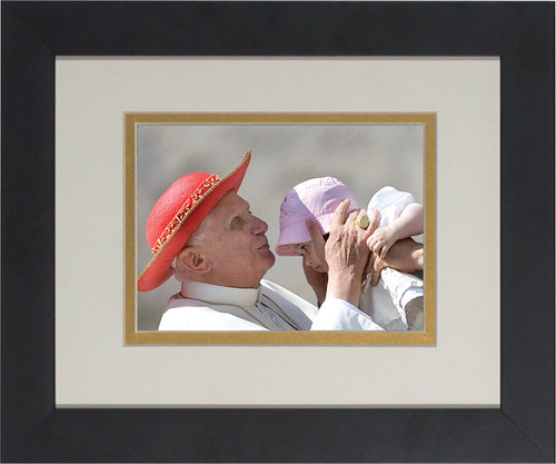 Pope Benedict Kissing Infant Matted - Black Framed Art