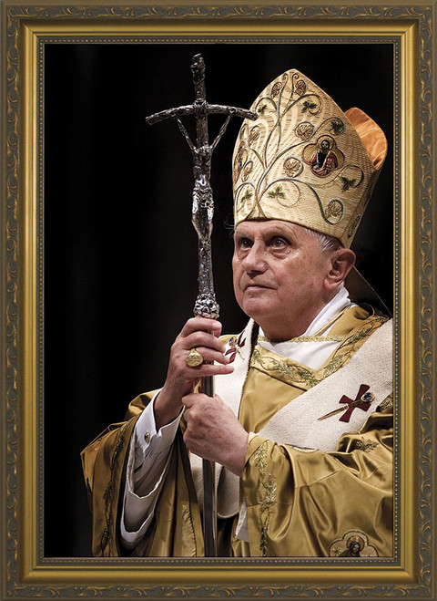 Pope Benedict with Paschal Staff Matted - Black Framed Art