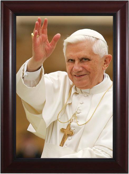 Pope Benedict Waving Matted - Black Framed Art