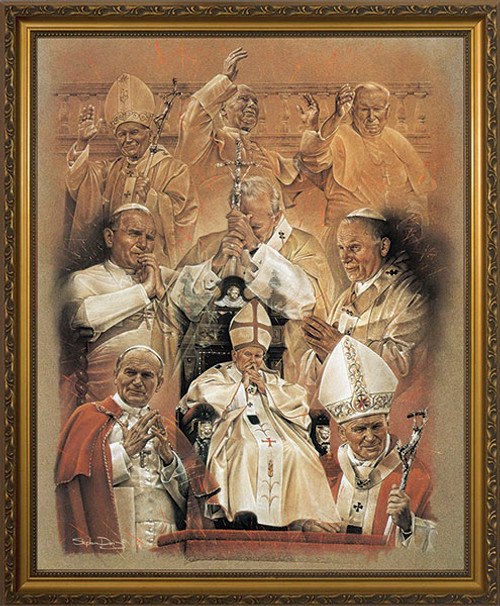 Pope John Paul II Collage Framed Art