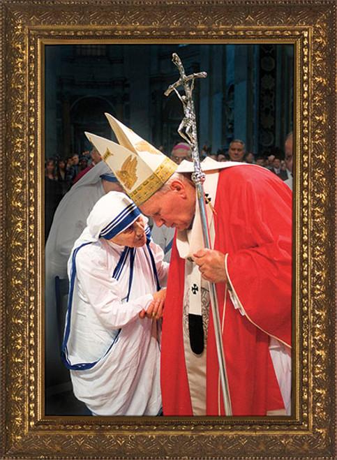 Pope John Paul II with Mother Teresa (Older) Framed Art