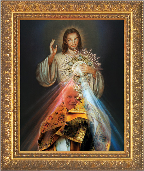 St. John Paul II with Monstrance and Divine Mercy Framed Art