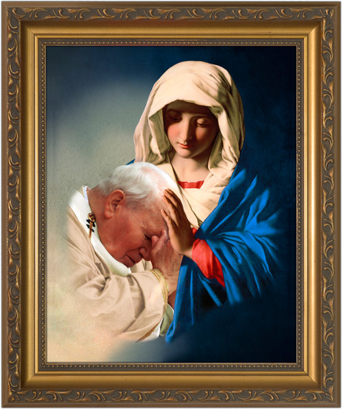St. John Paul II Being Held by Mary Framed Art