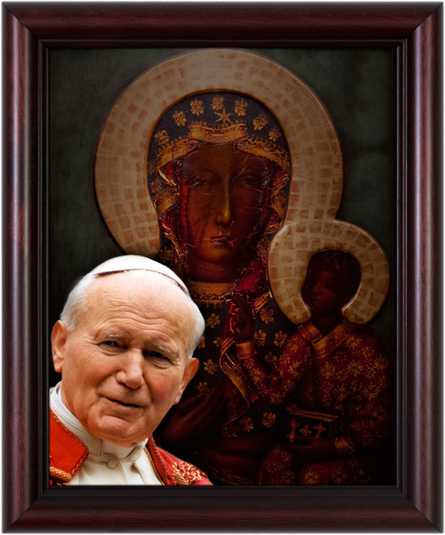 St. John Paul II and Our Lady of Czestochowa Framed Art