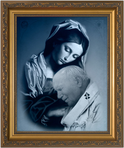 St. John Paul II and Mary Framed Art