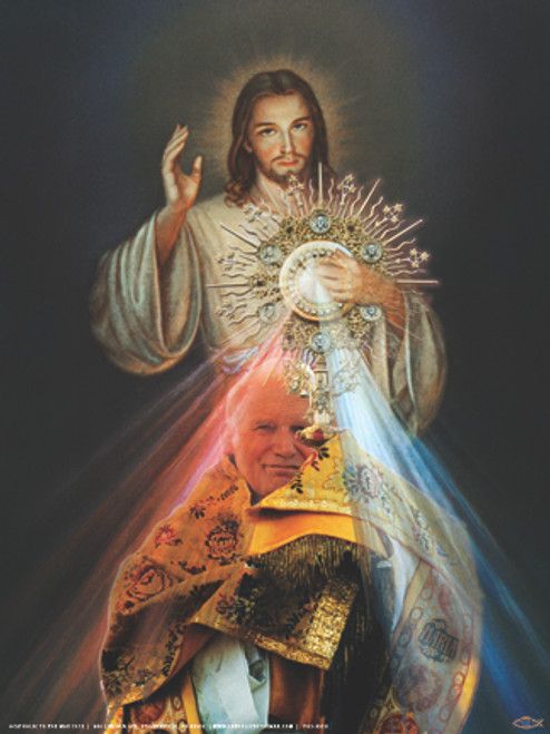St. John Paul II with Monstrance and Divine Mercy Poster
