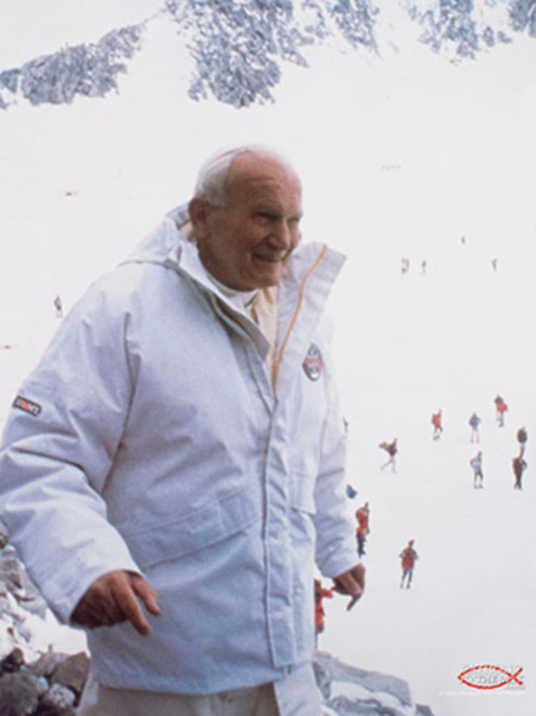 St. John Paul II Pope on the Slope Poster