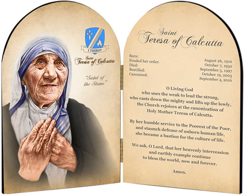 Commemorative St. Teresa of Calcutta Arched Prayer Diptych